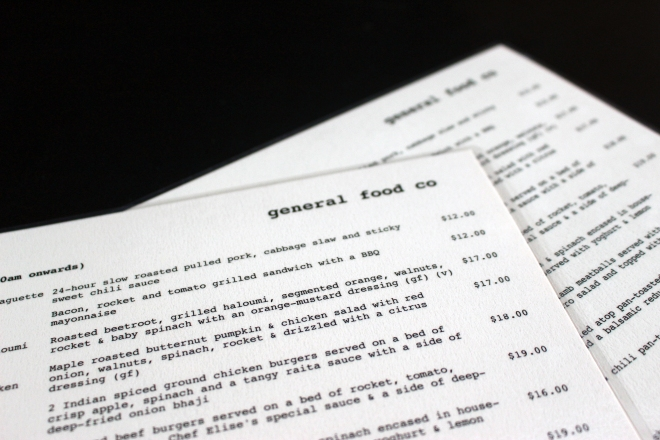 General Food Co Menu
